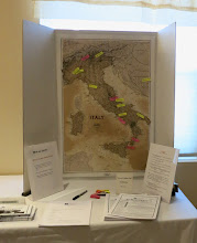 Photo: As people gathered, they could check out on the map where others come from in Italy.