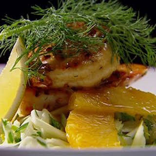 Fennel, Orange and Apple Salad with BBQ Marinated Prawns.