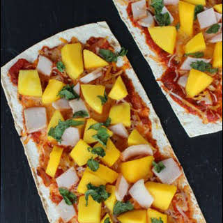 Mango Basil 6 Ingredient Flatbread Pizza.