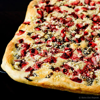 Roasted Strawberry and Feta Focaccia with Balsamic Glaze.