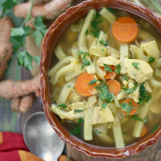 Slow Cooker Turmeric Turkey Noodle Soup.