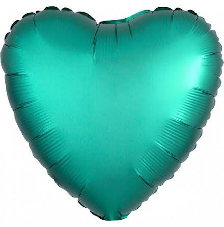 Folieballong Satinhjärta jade, 43 cm