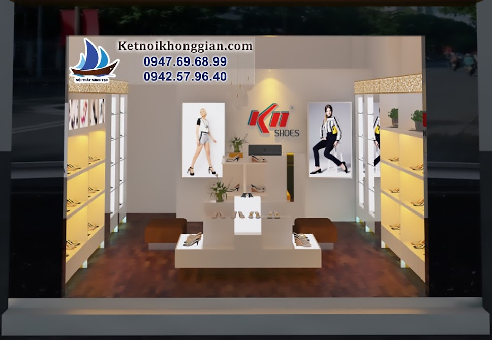 thiết kế cửa hàng giày dép chuyên nghiệp