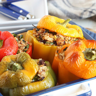 Greek Style Stuffed Peppers with Chicken Feta and Kalamata Olives.