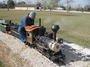 Photo: Bob Sanford under steam