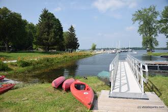 Photo: Kayaks at the marina at Burton Island State Park by Jessica Clarke