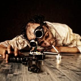 by Soran Sorin - People Portraits of Men ( drunk,  weird,  gun )