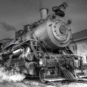 The steam engine  by Jonathan  Collins  - Black & White Objects & Still Life ( locomotive steam smoke train railroad tracks retro nostalgia power engine )