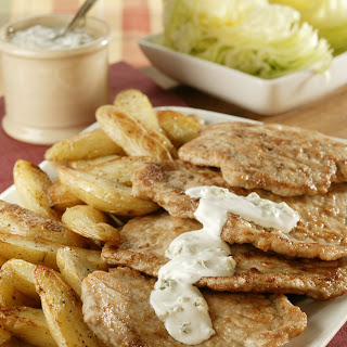 Pork Cutlets with Creamy Blue Cheese Dressing and Fingerling Potatoes.