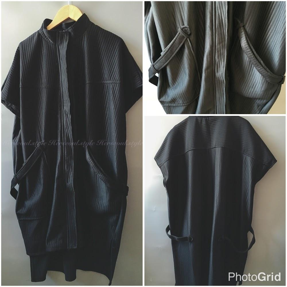 🃏黑色短袖長身暗坑紋外套🃏