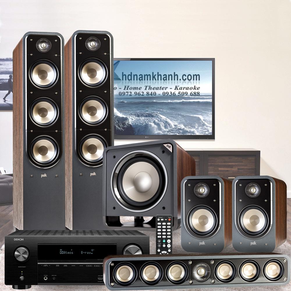 Bộ Âm thanh 5.1 Amply Denon X2600H ghép Bộ 5.1 Polk Audio S60