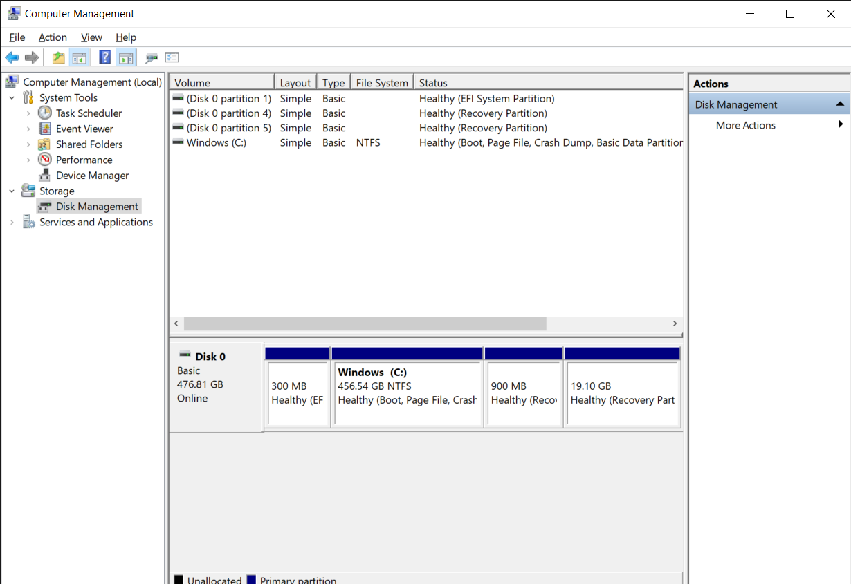 Click on the Disk Management option, on the left