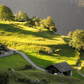 Dawn in Soglio, Switzerland by Keld Helbig Hansen - Landscapes Mountains & Hills