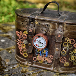 Time Traveler Suitcase by Marco Bertamé - Artistic Objects Other Objects ( steampink, wheels, suitcase, metal, lock, brown, many, decoration )