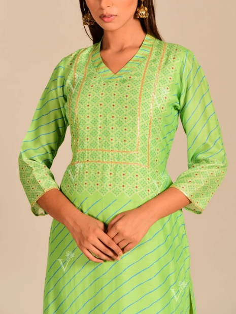 Light Green Leheriya Printed Kurti online