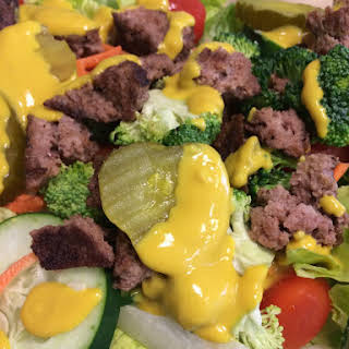 Low Carb, High Protein and Fiber Hamburger Salad with All the Fixings.