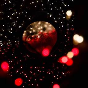 Coca Cola Light Christmas Bokeh by Sharmila Narwani - Abstract Light Painting ( red, light blur, white, christmas 2015, bokeh,  )