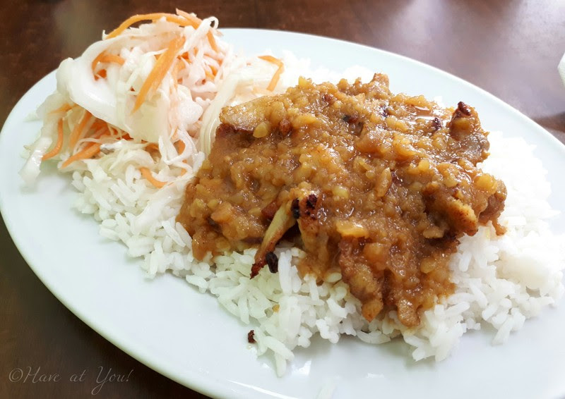 chicken satay on rice
