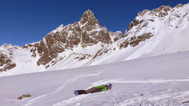 Photo: Planking in front of Piz Buin