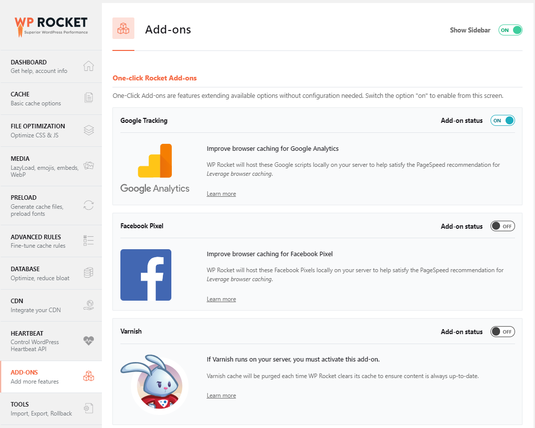 addons for wp rocket