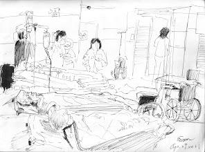 Photo: 手術預備2011.04.27鋼筆 一早手術室開張,病患躺成一排排,老爸爸也在其中。