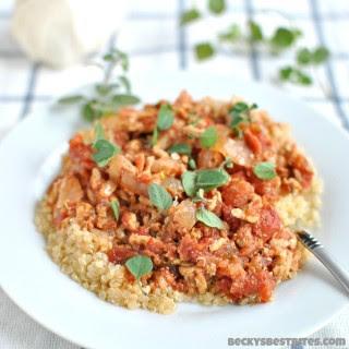 Slow Cooker Chicken Parmesan Quinoa Toss.