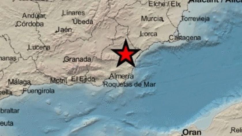 Lugar del epicentro del terremoto.
