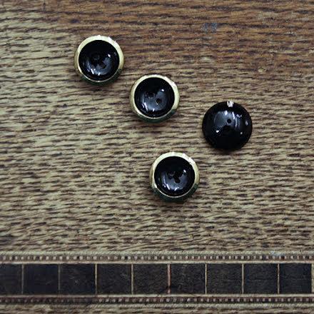 Glasknapp 14mm - svart/guld
