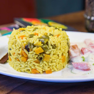 One Pot Spicy Vegetable Pulao Recipe with Coconut Milk