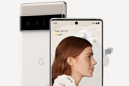 Front and back views of Pixel 6 Pro in Cloudy White.