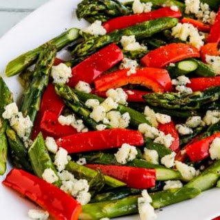 Holiday Roasted Asparagus with Red Pepper and Gorgonzola.