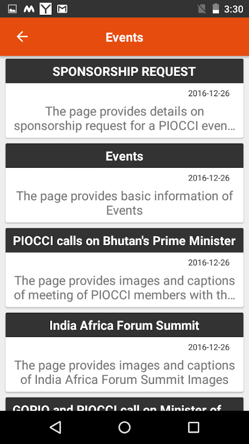 PIOCCI India- screenshot