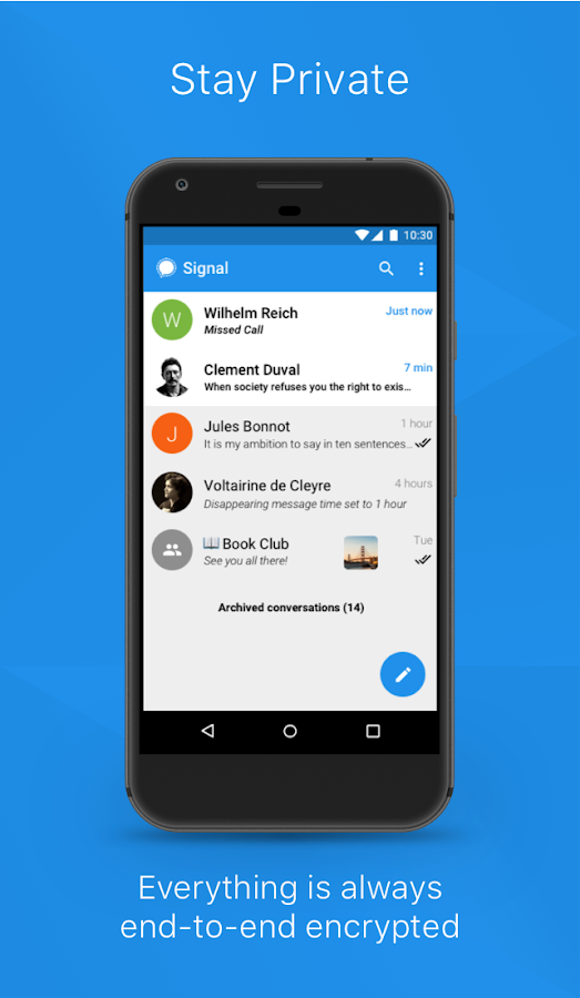 Signal Private Messenger: captura de pantalla