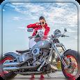 Racing bike photo frame icon