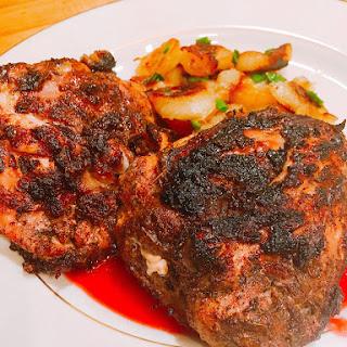 Quick Jerk Chicken with Raspberry Sauce Recipe