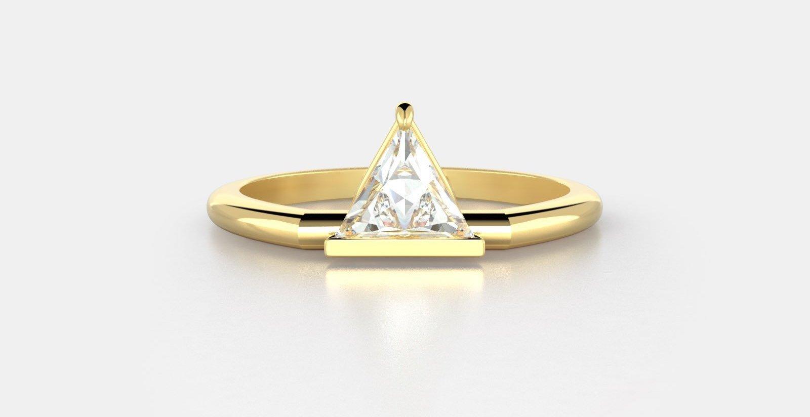 Mason No. 5 a bar set triangle diamond in 18K yellow gold.