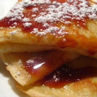Vanilla Crepes w/ Caramel Sauce