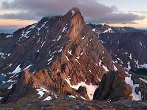 Photo: Sunrise light illuminates the Crestone Needle, 14,197 feet, as seen from the summit of Broken Hand Peak, 13,573 feet. June.