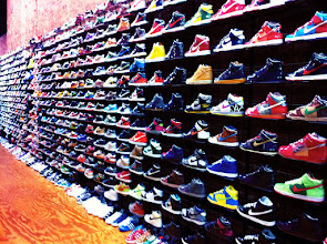 Photo: Shoes @ Flight Club. Nikes as far as the eye can see. I bought some Adidas instead.