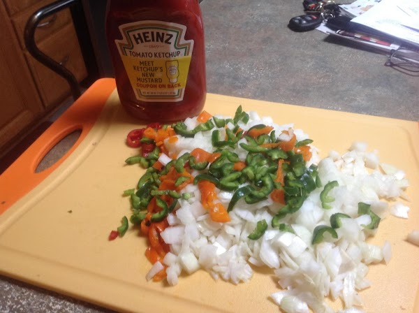 Seed & chop the variety peppers & onions into desired size pieces.