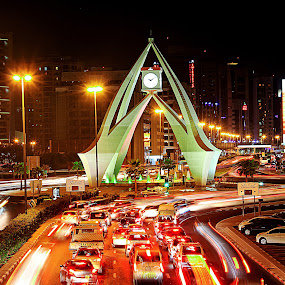 Green Lights by Lealiza Seiler - City,  Street & Park  Street Scenes ( lights, traffic, clock tower, dubai, cars, street, uae, nightscape )