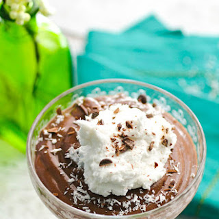 Vegan Chocolate-Almond Mousse with Coconut Whipped Topping.