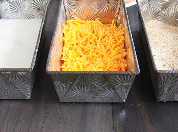 Gather three pans or dishes  to fill with the milk, sharp cheddar, and...