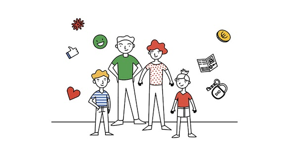 A family's image with appropriate content's symbols suitable for all ages