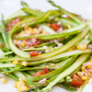 Asparagus Ribbon Salad with Crumbled Pancetta and Parmesan.