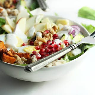 Autumn Cobb Salad with Sweet Potato, Walnuts and Ranch Dressing.
