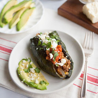 Stuffed Poblano Peppers with Ancho Chili.