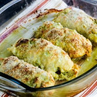 Low-Carb Baked Chicken Stuffed with Pesto and Cheese.