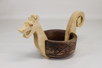 "Photo: John Laffan 5"" x 10"" dragon bowl [walnut, poplar]"