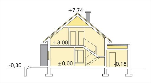 Antoni wersja C podwójny garaż - Przekrój